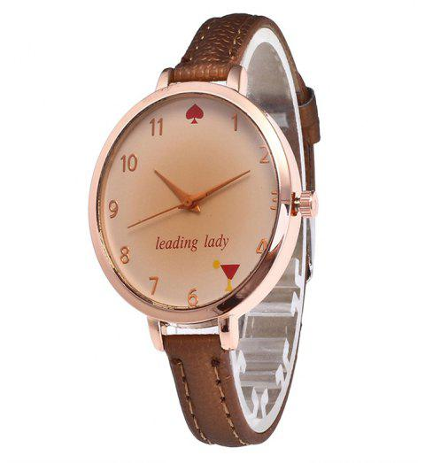 Tawny Alphabet Leather Watch - COFFEE