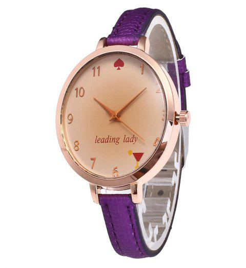 Tawny Alphabet Leather Watch - PURPLE