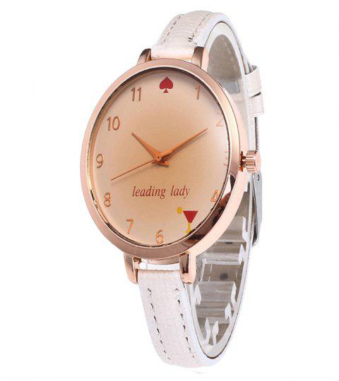 Tawny Alphabet Leather Watch - WHITE