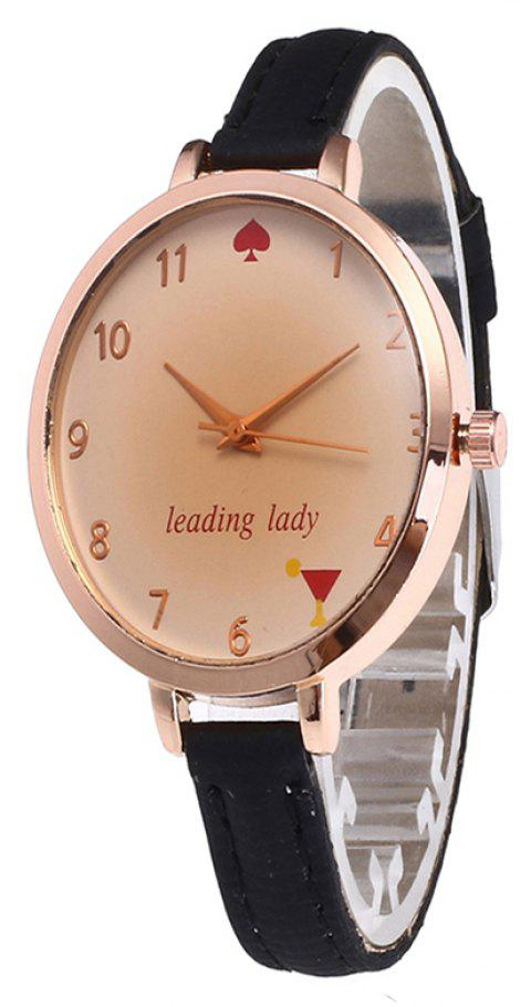 Tawny Alphabet Leather Watch - BLACK