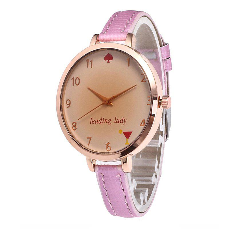 Tawny Alphabet Leather Watch - PINK