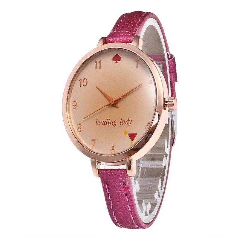 Tawny Alphabet Leather Watch - ROSE RED