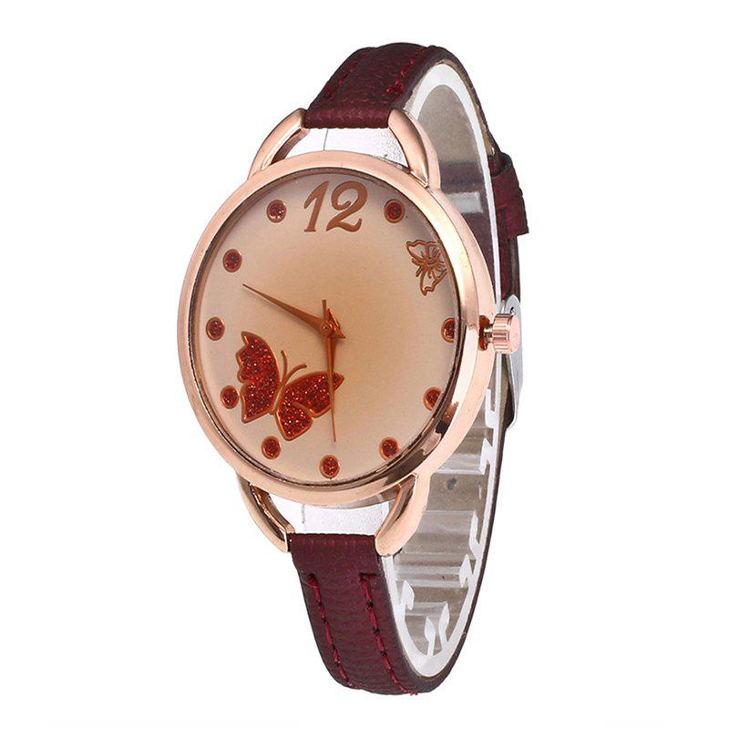 Butterfly Tea Women Quartz Watch - RED WINE