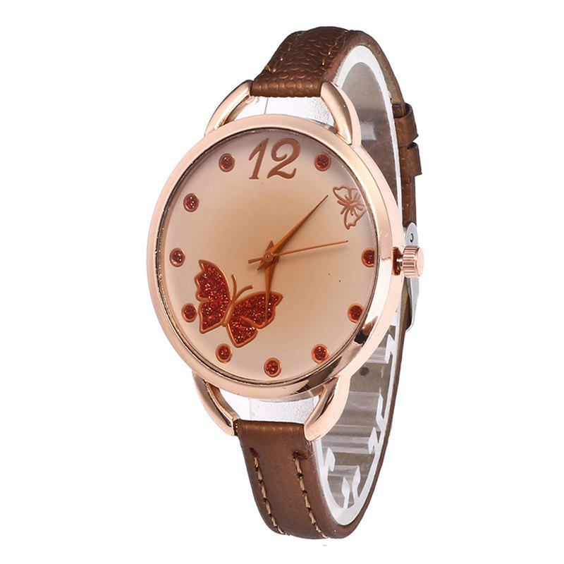 Butterfly Tea Women Quartz Watch - COFFEE