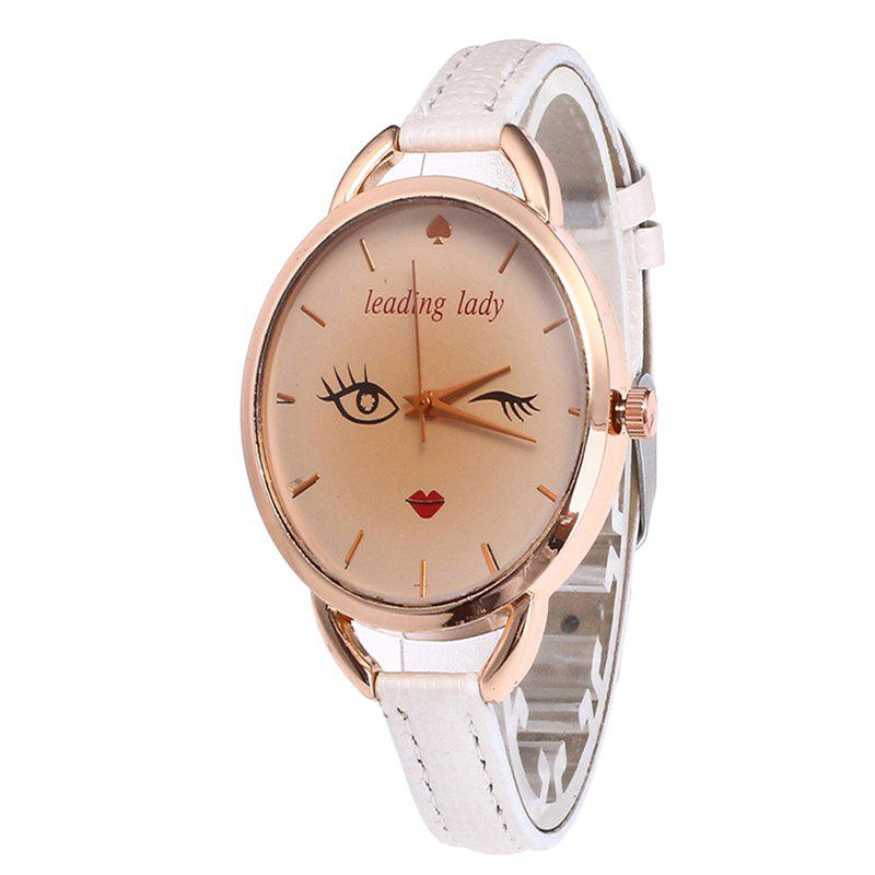 Big Eyes Red Lipstick Women Quartz Watch - WHITE