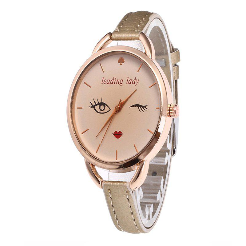 Big Eyes Red Lipstick Women Quartz Watch - CORNSILK