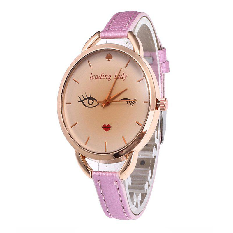 Big Eyes Red Lipstick Women Quartz Watch - PINK