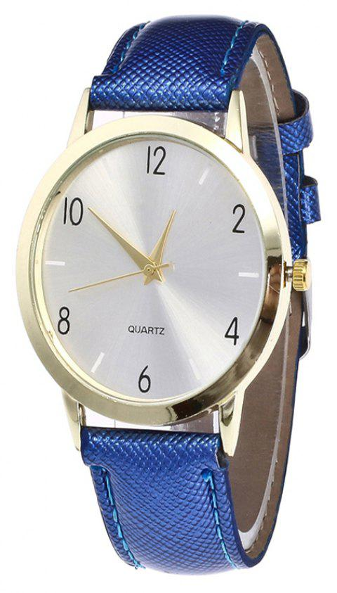 Fashionable Leather Quartz Watch - ROYAL BLUE