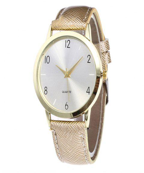 Fashionable Leather Quartz Watch - CORNSILK