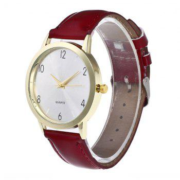 Fashionable Leather Quartz Watch - RED WINE