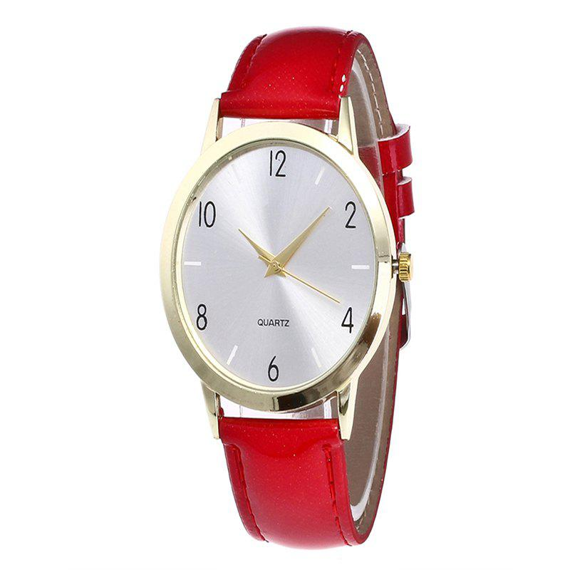 Fashionable Leather Quartz Watch - RED