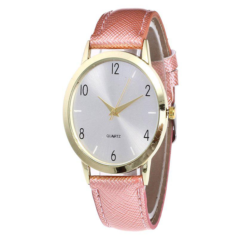 Fashionable Leather Quartz Watch - PINK