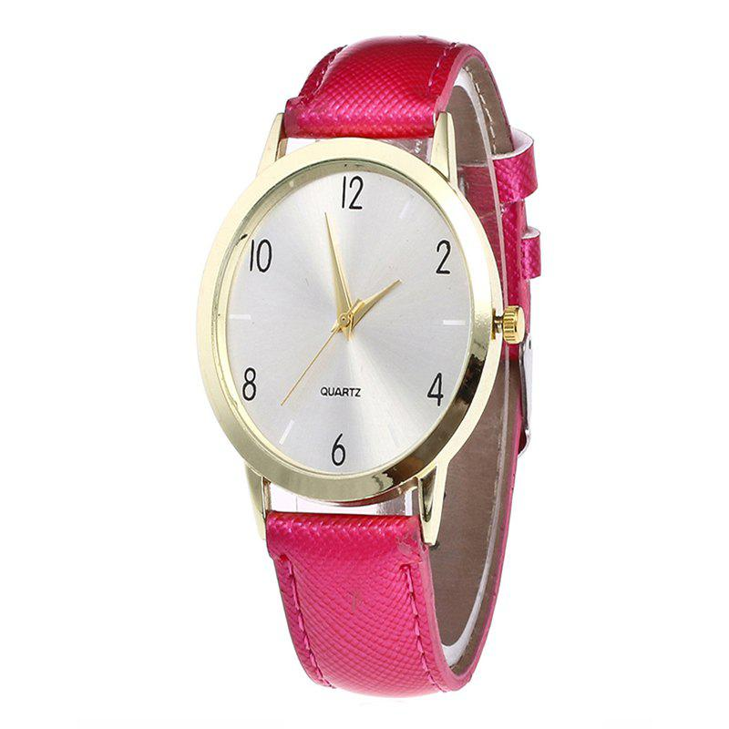 Fashionable Leather Quartz Watch - ROSE RED