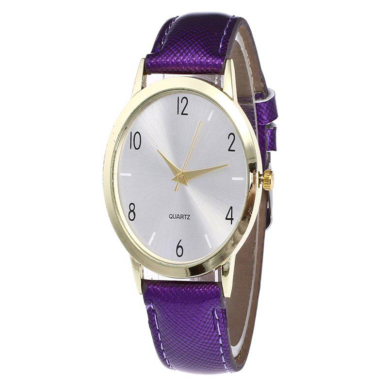 Fashionable Leather Quartz Watch - PURPLE