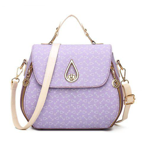 Print Fashion Lock PU Trend Single Shoulder Cross-Shoulder Bag - PURPLE