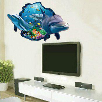 Dolphin 3D Wall Stickers Creative Home Background Adornment Stereo Feel Ocean - multicolor