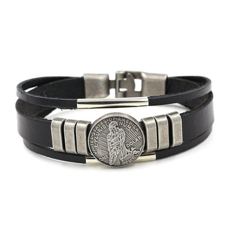 Simple Leather Bracelet 0129 Ornaments Gifts - BLACK