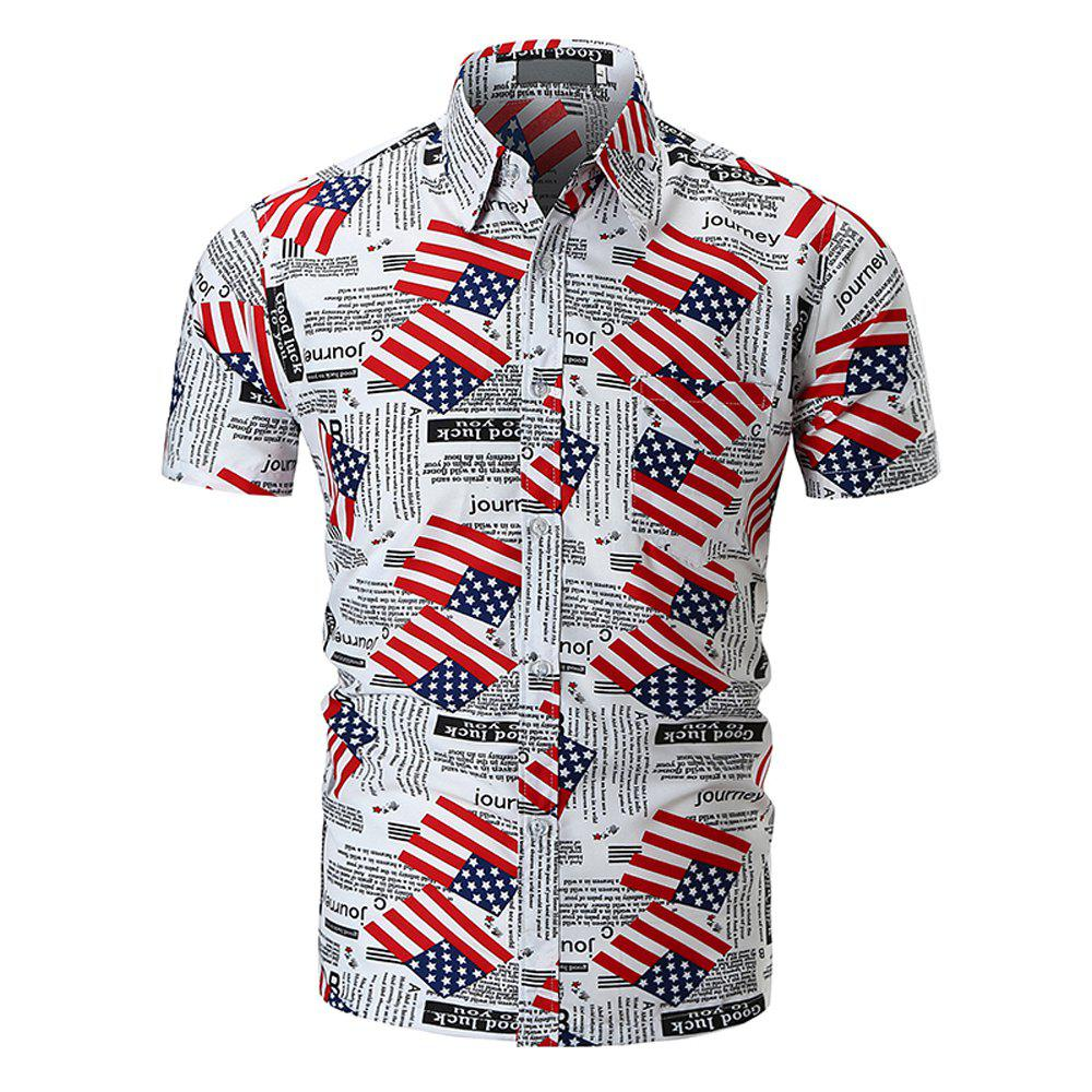 2018 New Men's Flag Print Shirt Fashion Casual Short Sleeve Shirt - WHITE L