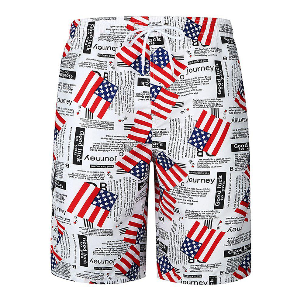 2018 New Men's Flag Print Beach Shorts Fashion Casual Loose Shorts - WHITE M