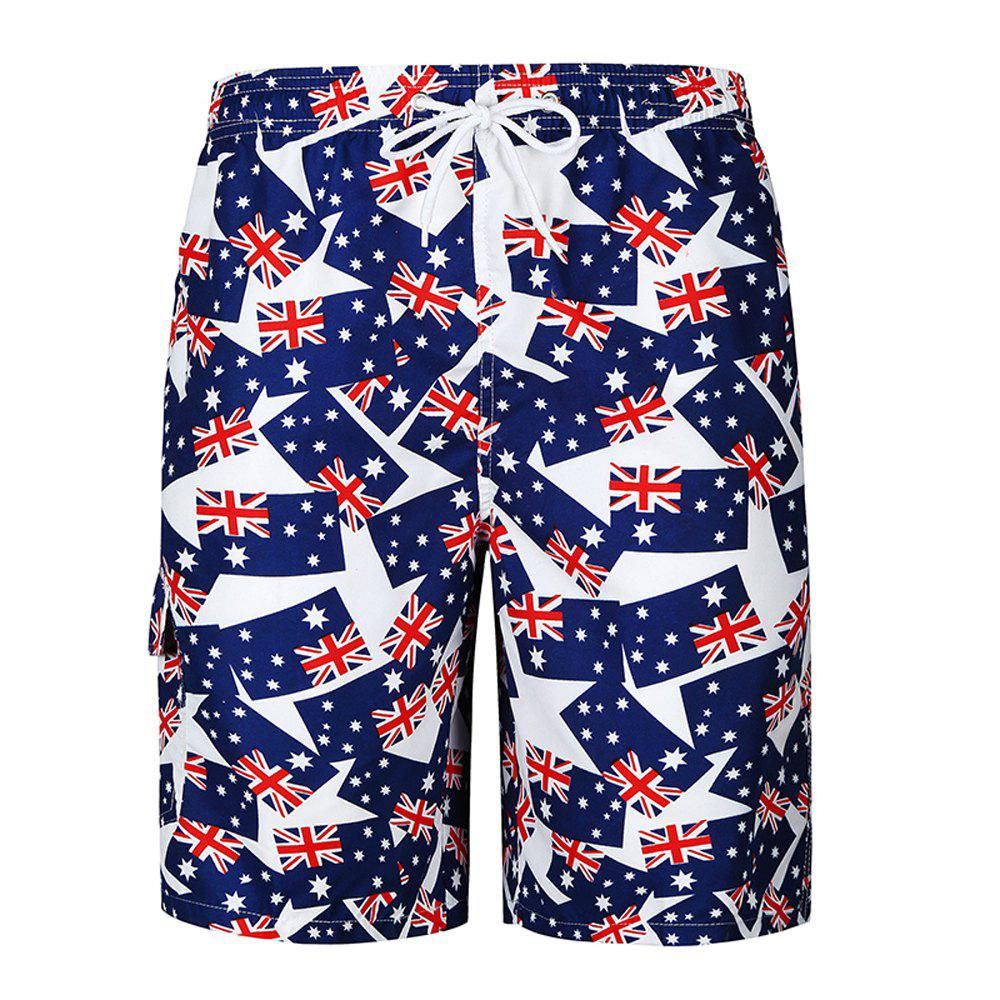 2018 New Men's Fashion Features Flag Print Beach Shorts Casual Shorts - MIDNIGHT BLUE M