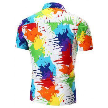 2018 New Men's Personality Pigment Print Shirt Fashion Beach Short Sleeve Shirt - multicolor XL