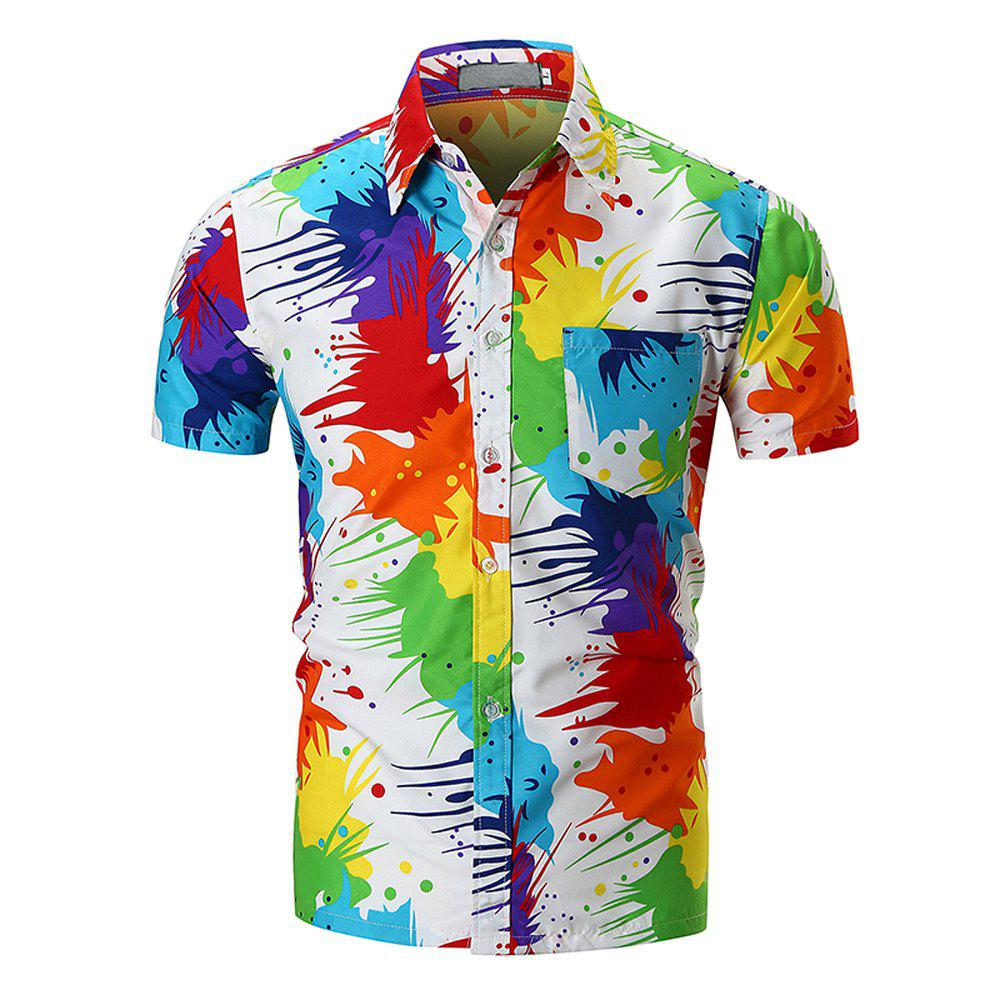 2018 New Men's Personality Pigment Print Shirt Fashion Beach Short Sleeve Shirt - multicolor 2XL