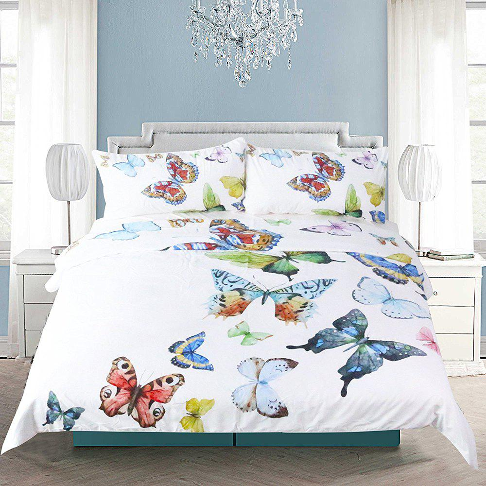 Flying Butterflies Bedding  Duvet Cover Set Digital Print 3pcs - multicolor KING