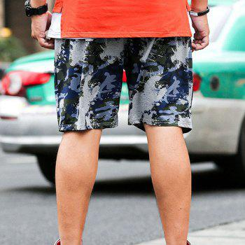 Summer Fashion Leisure Camouflage Large Size Men's Shorts - BLUE GRAY 4XL