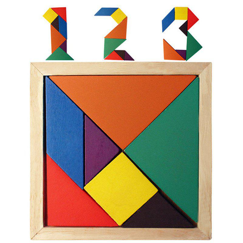 Rainbow Tangram 7 Piece Square Solid Wood Brain Teaser Wooden Puzzle 8 triangle wooden block brain teaser puzzle toy brown