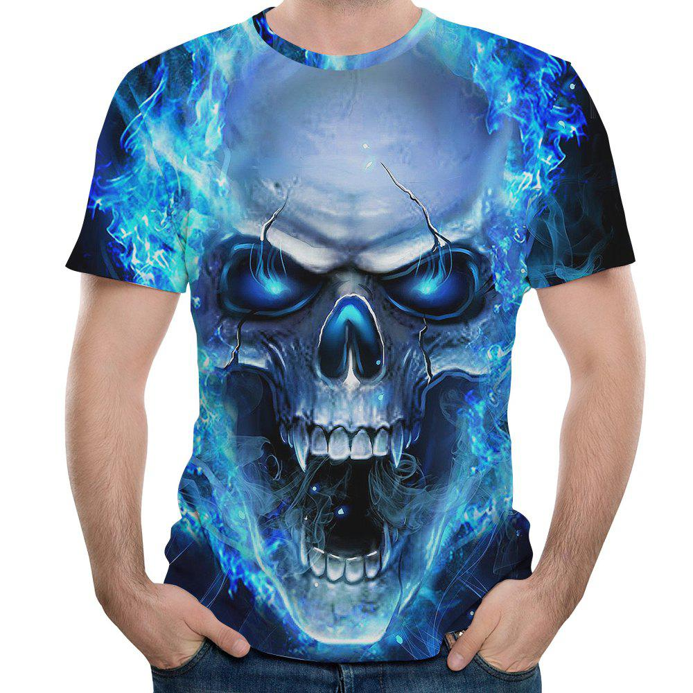 3D Casual Fashion Bald Skull Print Men's Short Sleeve T-shirt mens casual 3d personality skull printing short sleeve t shirt cotton sport black tees