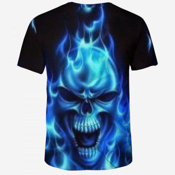 Casual Fashion Ghost Skull 3D Print Men's Short Sleeve T-shirt - BLACK XL