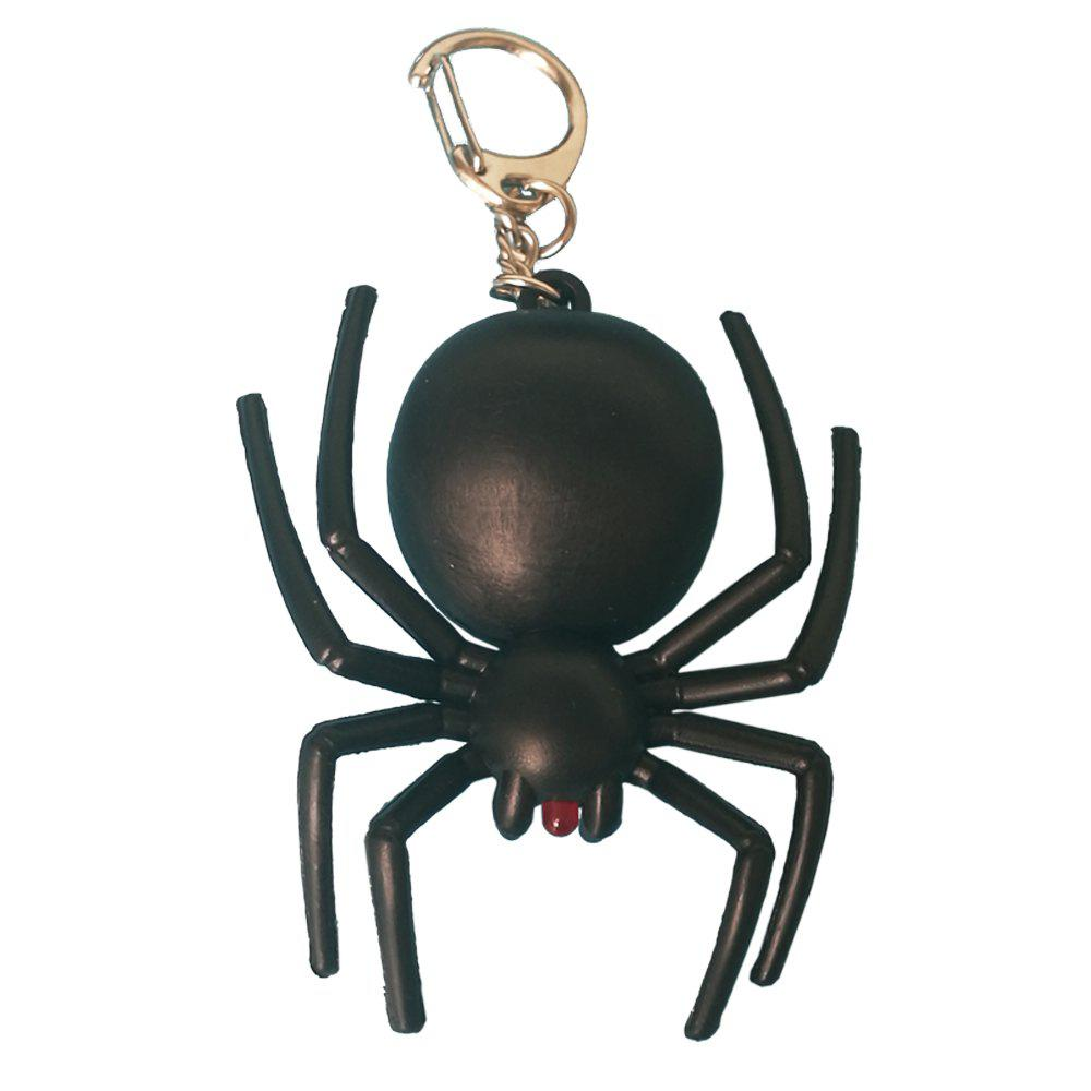 Noise-Making Black Spider Keychain with LED Light - BLACK