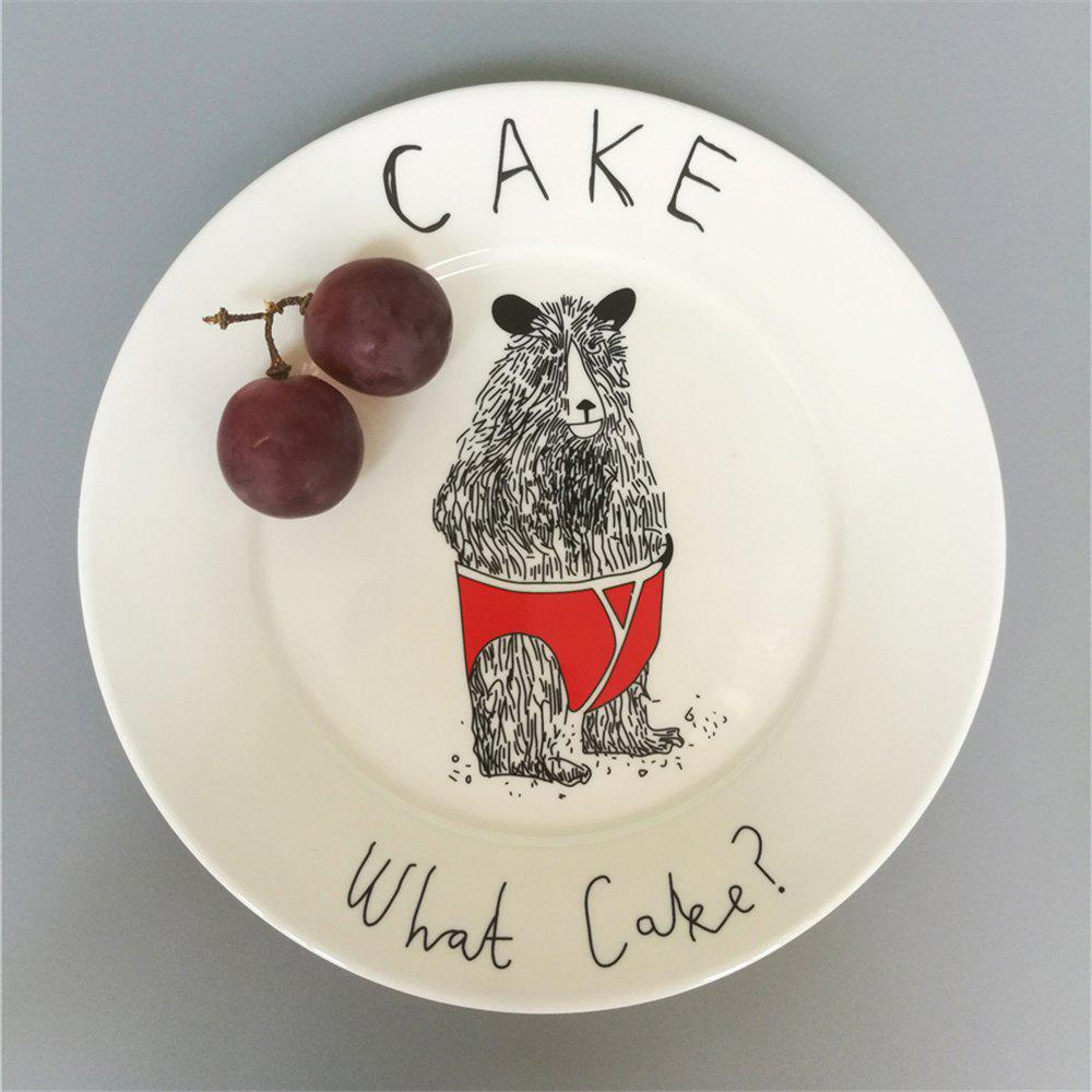 Creative Nordic Style Cartoon Animals Ceramic Dinner Plate Round Dish - multicolor A