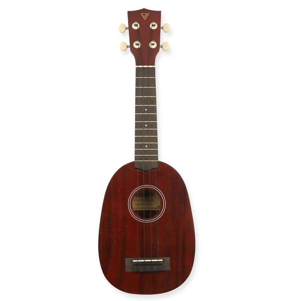 Pineapple Soprano Ukulele 21 inch Beginner Kit - BLOOD RED