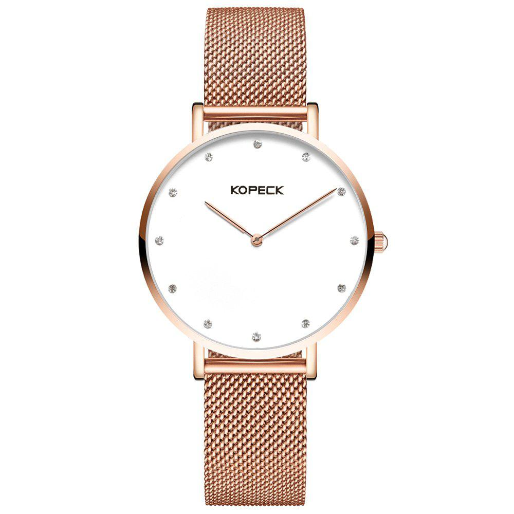 KOPECK 6013 Couples Quartz Analog Calendar Watch - ROSE GOLD FEMALE