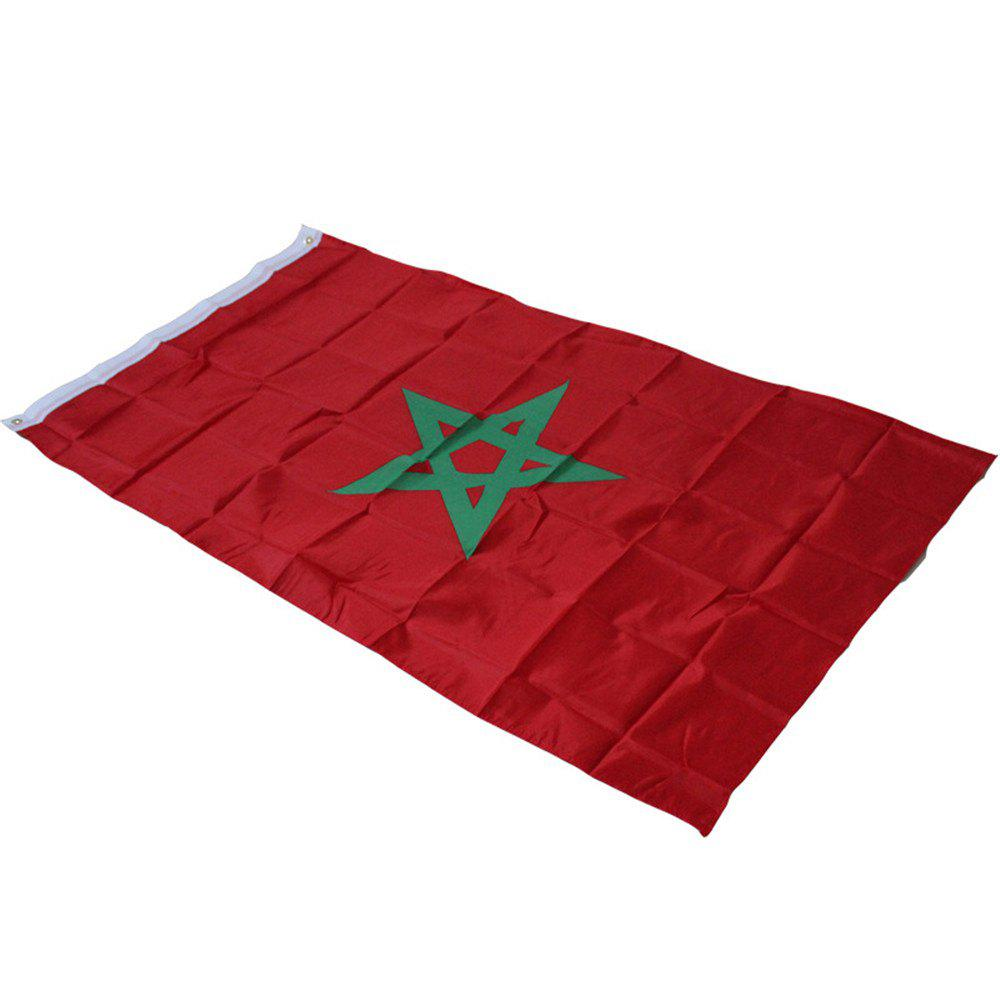 Hot 90X150 Cm Moroccan Flag Banner Hanging Home Decor - RED