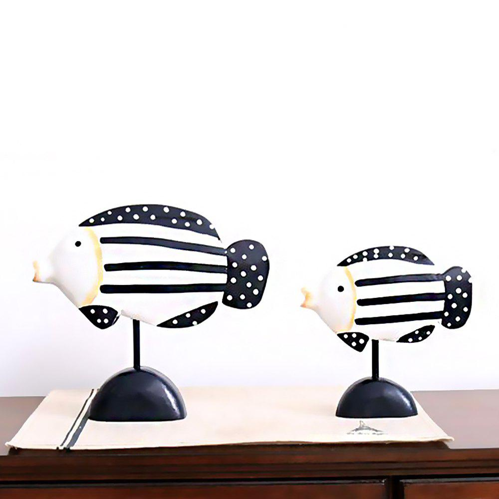 WX-CB-13060 Groceries Painted Home Wooden Lovers Fish Ornament - BLACK