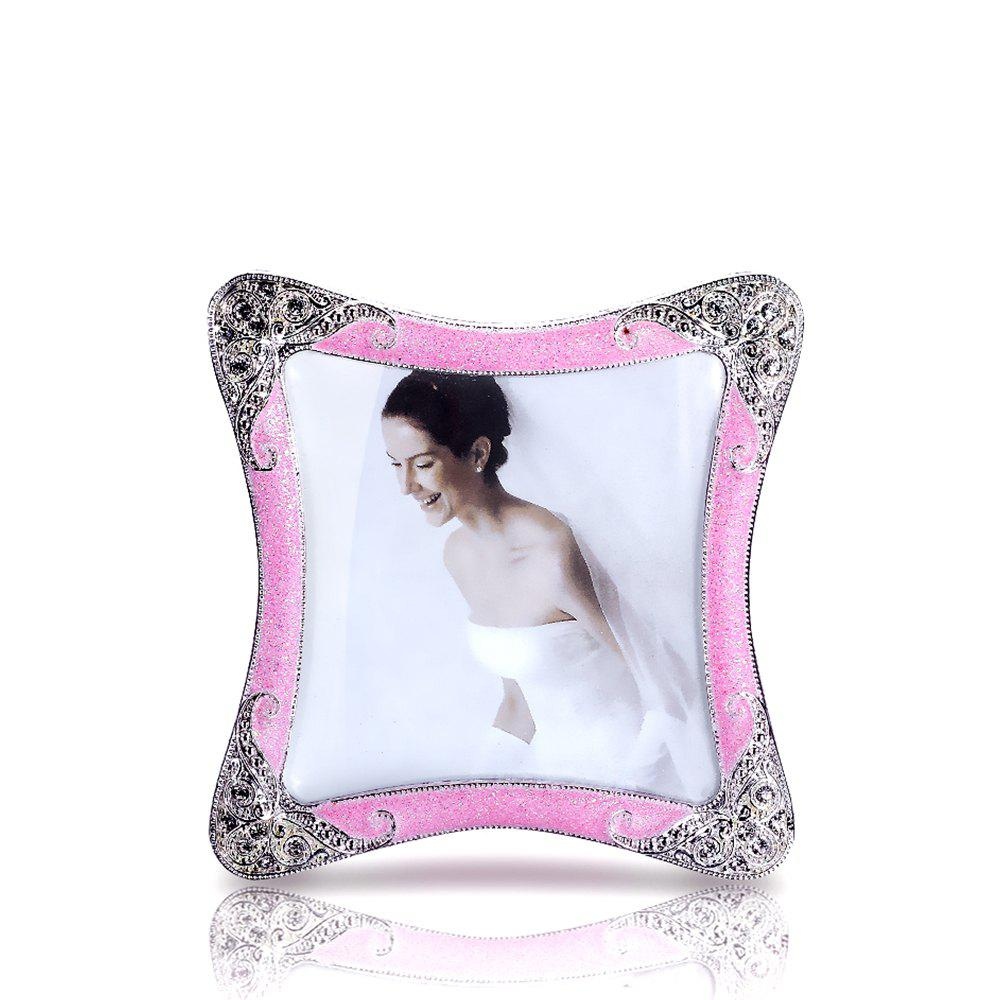 Bz-01 European Retro Artificial Diamond Metal Photo Frame - PINK