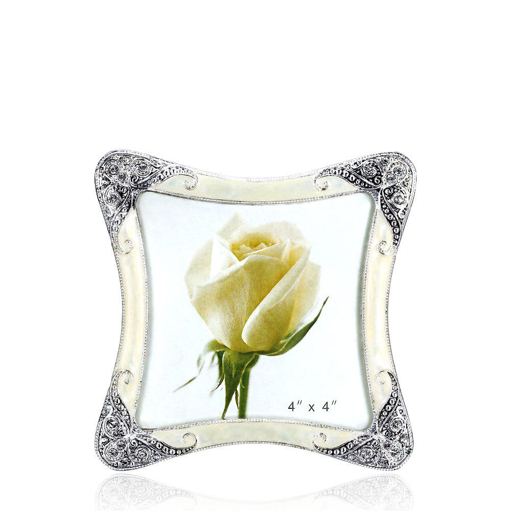 Bz-01 European Retro Artificial Diamond Metal Photo Frame - WHITE