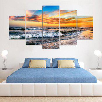 5 Panel Hd Modern Surf Sunset Art Print Canvas Art Wall Framed Paintings - WATER SIZE:30X40CMX2+30X60CMX2+30X80CMX1(12X16INCHX2+12X