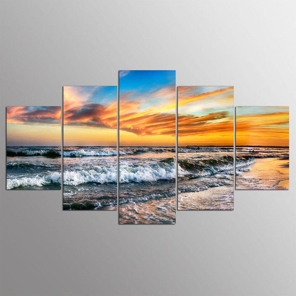 5 Panel Hd Modern Surf Sunset Art Print Canvas Art Wall Framed Paintings sunset seascape patterned canvas wall art paintings
