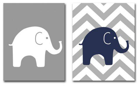 Contemporary Simple Living Room Sofa Background Small Elephant Adornment Print - multicolor 12 X 16 INCH (30CM X 40CM)