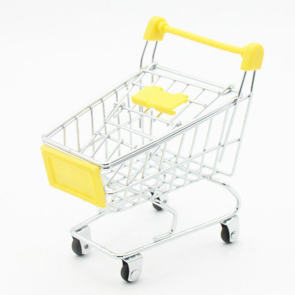 Mini Creative Toy Supermarket Shopping Cart Model Storage Basket - YELLOW