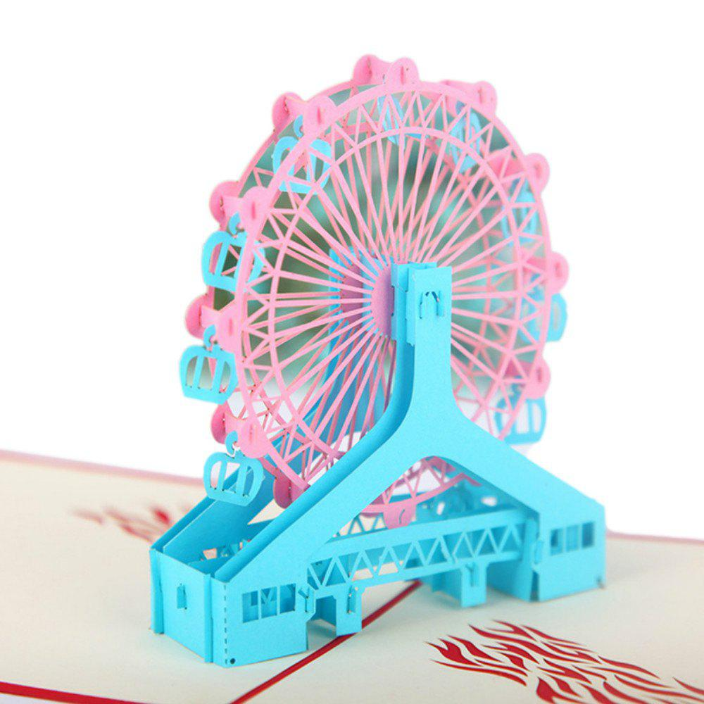 3D Greeting Cards Ferris Wheel Model 50pcs gold red laser cut hollow flower marriage wedding invitation cards 3d card greeting cards postcard event party supplies