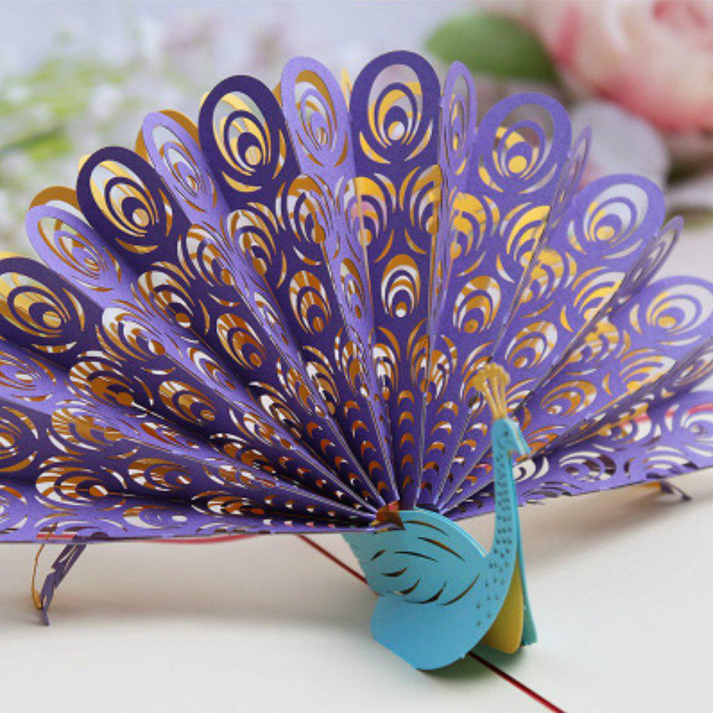 3D Peacock Greeting Card Handmade - PURPLE