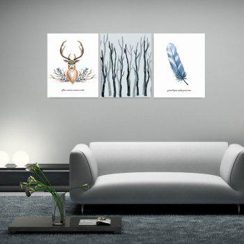 W165 Nordic Style Animal Unframed Wall Canvas Prints for Home Decorations 3PCS - multicolor A 20CM X 25CM X 3PC