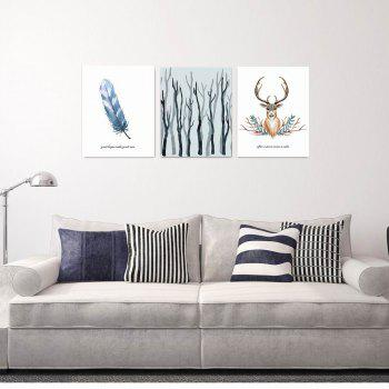 W165 Nordic Style Animal Unframed Wall Canvas Prints for Home Decorations 3PCS - multicolor A 40CM X 50CM X 3PC