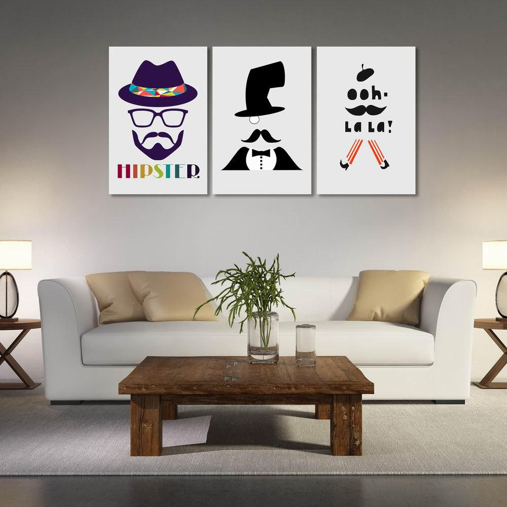 W169 Men Unframed Art Wall Canvas Prints for Home Decorations 3 PCS - multicolor A 60CM X 90CM X 3PC