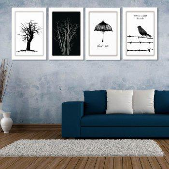 W170 Tree and Bird Unframed Art Wall Canvas Prints for Home Decorations 4PCS - multicolor A 20CM X 30CM X 4PC