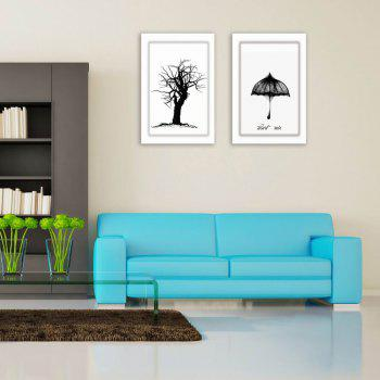 W170 Tree and Bird Unframed Art Wall Canvas Prints for Home Decorations 4PCS - multicolor A 30CM X 45CM X 4PC